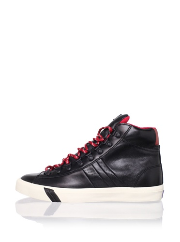 PRO-Keds Men's Royal Plus Hi D-Ring Sneaker (Black/Red)