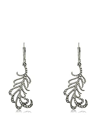 Riccova Country Chic Rhodium Plated Crystal Leaf Dangle Earrings