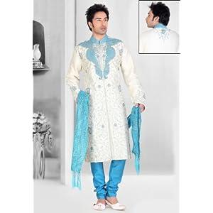 White Dupion Art Silk Readymade Sherwani Churidar