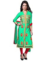 Viva N Diva Green Color Cotton Suit.