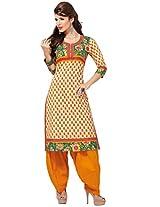 Salwar Studio Yellow & Cream Cotton Unstitch Kurti SAHELI-1123