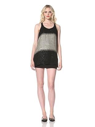 Parker Women's Sequin Blocking Racer Dress (Black/Taupe)