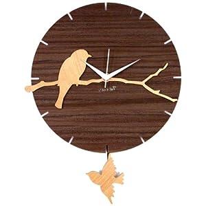 Basement Bazaar Bird Wooden Pendulum Wall Clock (Brown, Pan552)