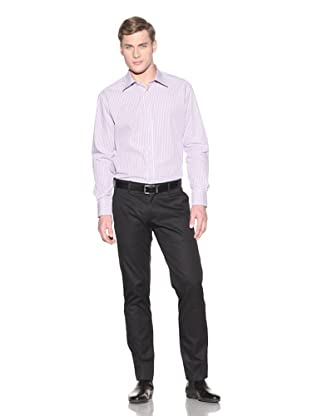 Valentino Men's Dress Shirt (Purple/Pink/White Stripe)