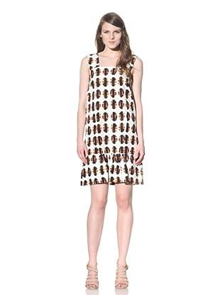 MARNI Women's Sleeveless Dress with Ruffled Trim (White Rust)