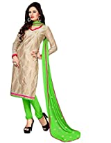 Vibes Women Cotton Salwar Suit Dress Material (V195-128 _Beige And Green _Free Size)