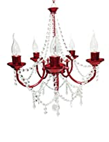 Prop It Up Glossy Red Crystal Chandelier (Dia - 50 cm, Height - 35 cm, Medium)