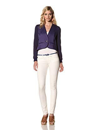 Thakoon Addition Women's Combo Cropped Collarless Blazer (Navy)