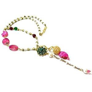 Daamak Jewellery Tie Style Necklace-Pink