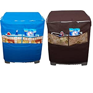 Handloomdaddy Designer Washing Machine Cover With Front Pocket - Top Loading