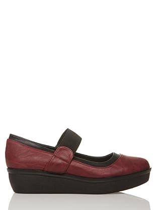 Rizzo Zapatos Elástico Tacón Piso (Rubi / Negro)