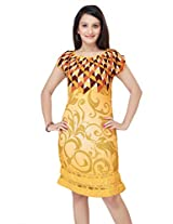 ADS Womens Digital Print Yellow Kurti/Tunic(Size X-Small)(ADS05XS)