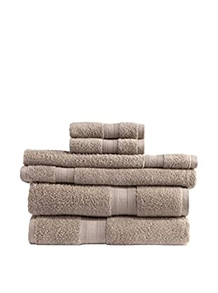 Home Source MicroCotton Aertex 6-Piece Towel Set, Latte