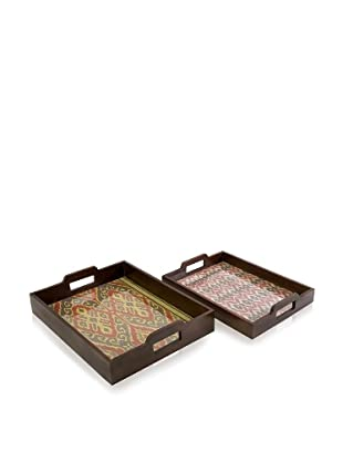 Set of 2 Zyana Trays, Brown/Red