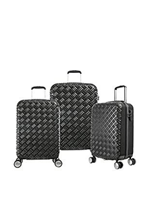 Olympia T-Line Gon Polycarbonate 3 Piece Spinner Set, Black