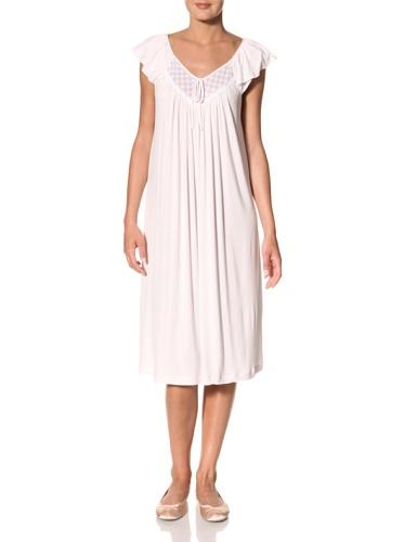 Oscar de la Renta Women's Flutter Sleeve Night Gown (Pink)