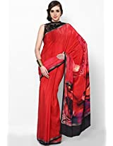 Crepe Red Digital Printed Saree Satya Paul