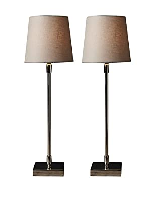 Filament Set of 2 Slim Square Base Table Lamps, Taupe/White