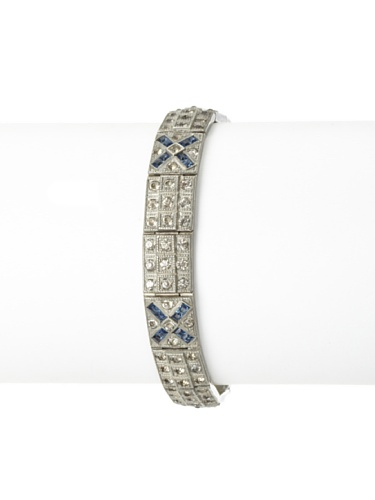 Lulu Frost 1920's Art Deco 2-Tone Crystal Bracelet, Antique Silver/Blue