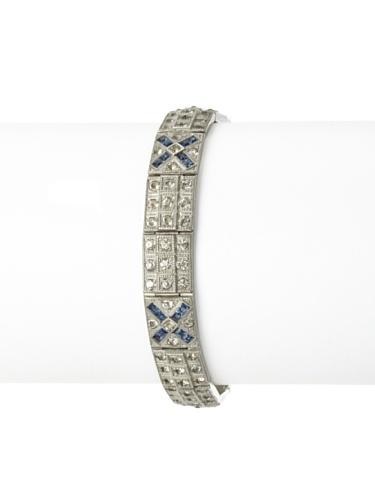 Lulu Frost 1920's Art Deco 2-Tone Crystal Bracelet, Antique Silver/Blue