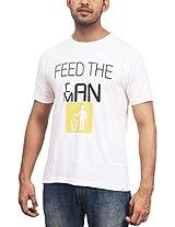 THESMO Unisex Round Neck Cotton T-Shirt, White, XXL