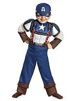 Disguise Marvel Captain America The Winter Soldier Movie 2 Captain America Retro Toddler Muscle Costume, Medium (3T-4T)
