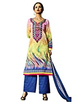 Admyrin Yellow Cotton Printed Salwar Kameez with Blue Chikan Work Bottom