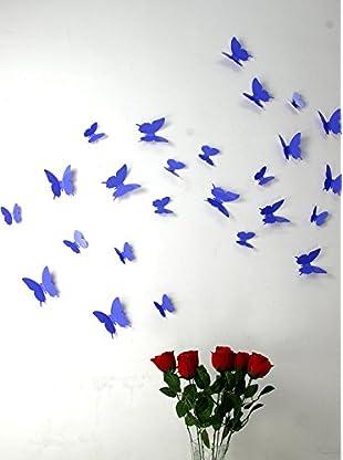 Ambiance Live Wandtattoo 12 tlg. Set 3D Butterflies violett