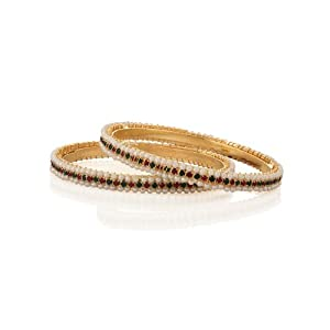 Voylla Pair of Bangles Decorated with Coloured Crystals Flanked by Pearl Rows, Size 2-4