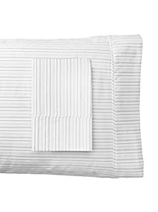 Melange Home 400 Thread Count 100% Cotton Shirt Stripe Pillowcase Pair, Grey, Standard
