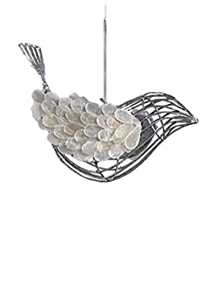 Capiz And Wire Bird Ornament, Silver