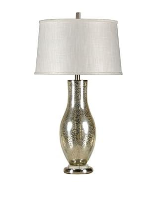 StyleCraft Steel/Glass Table Lamp, Mercury Silver/Brushed Steel