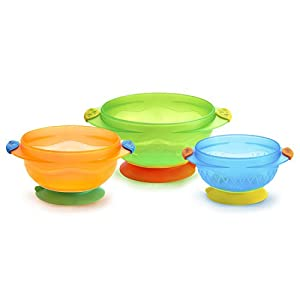 Munchkin 3 Pack Stay Put Suction Bowls  (Assorted Colors)