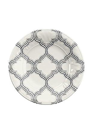 Ikat Melamine Salad Plate, White/Grey