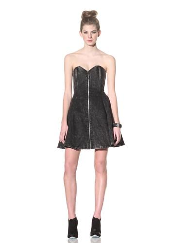 Betsey Johnson Women's Denim Fit-N-Flare Dress (Grey)