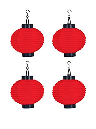 Pure Garden Set of 4 LED Outdoor Solar Chinese Lanterns, Red
