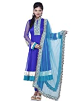 Royal blue net readymade suit dupatta