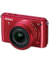 Nikon1 S1 Mirrorless Digital Camera with 11-27.5mm Lens (Red)