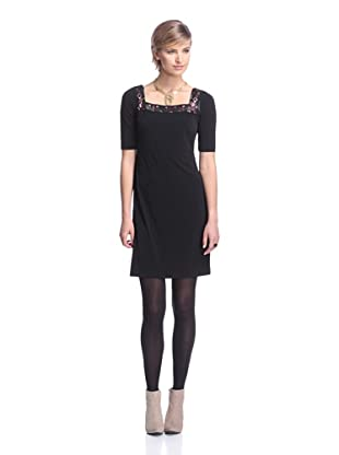 Donna Morgan Women's Sheath with Beaded Neckline (Black)