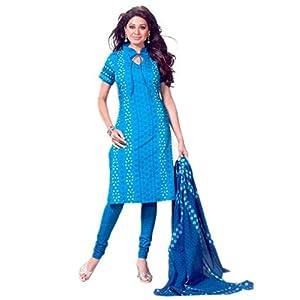SGC- Blue cotton unstitched churidar kameez with dupatta - SH-11522