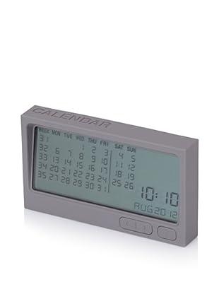 Lexon Buro Calendar and Time Clock, Grey