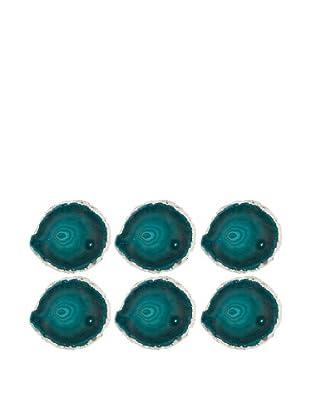 6pk Brazilian Agate Crystal Coaster Set, Turqousie