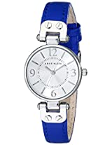 Anne Klein Women's 10/9443SVCB Silver-Tone and Cobalt Blue Leather Strap Watch