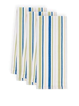 KAF Home Set of 3 Basket Weave Kitchen Towels, Snorkel/Pear