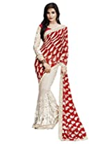 Shoppingover partywear net saree in Offwhite and Red Color