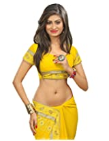 Surat Tex Yellow Pure Poly Georgette online shopping sarees with Unstitched Blouse