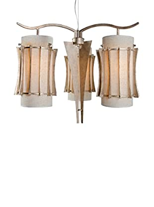 Varaluz Occasion 3-Light Chandelier, Zen Gold/Tan Silk