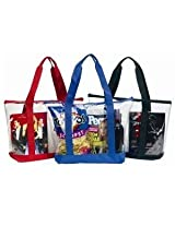 Accessories 4 All Large Clear Tote Bag Clear Tote Bag With Zipper Closure Black - Black