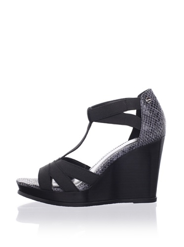 Calvin Klein Women's Eliyah Wedge Sandal (Black/Grey)