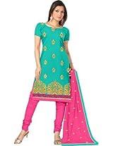 Krisha print Chanderi Cotton With Emroidery work Enthnicwear Salwar Kameez suit